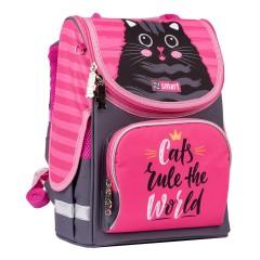 Рюкзак каркасный Smart PG-11 Cat rules серый розовый 556515