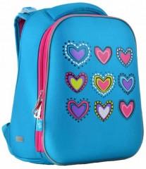 Ранец ортопедический каркасный YES Hearts turquoise H-12